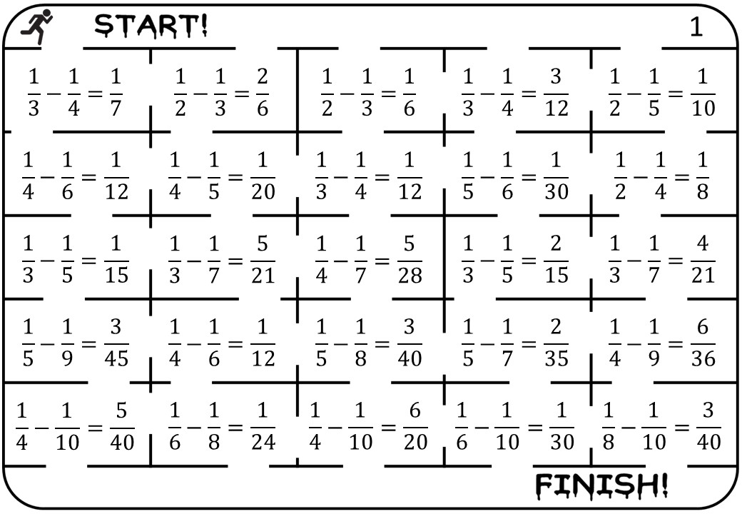 Unit Fractions - Subtracting - True or False Maze