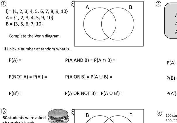 Venn Diagrams - Notation - Worksheet A