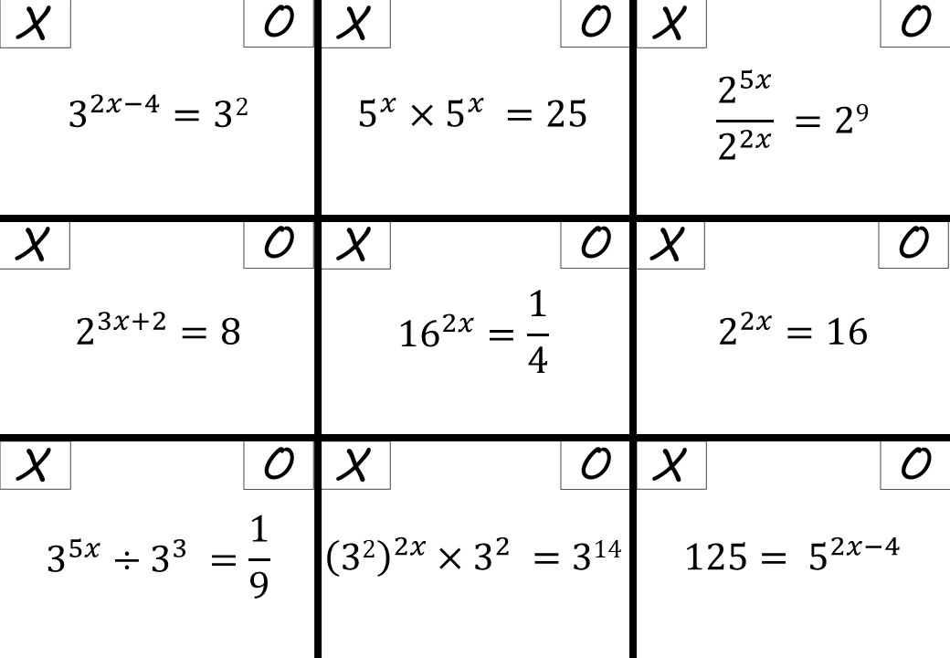 Equations With Indices - Noughts & Crosses