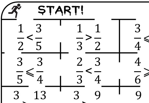 Fractions - Comparing - Inequalities - True or False Maze