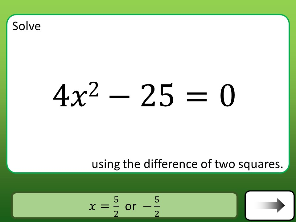 Quadratic Equations - Difference of Two Squares - Car Race