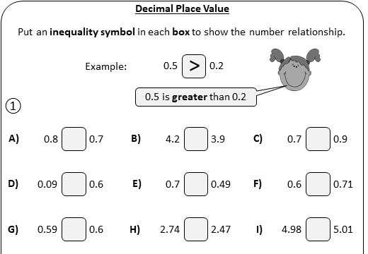 Decimals - Place Value - Worksheet A