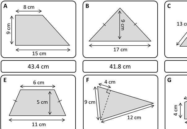 Perimeter - With Pythagoras - Card Match
